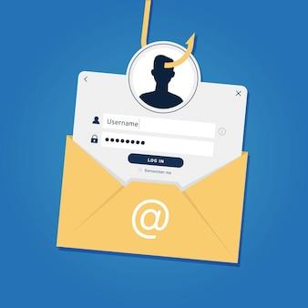 Conta de phishing e conceito de identidade falsa