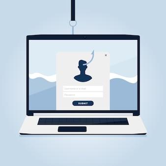 Conta de phishing e conceito de informações falsas