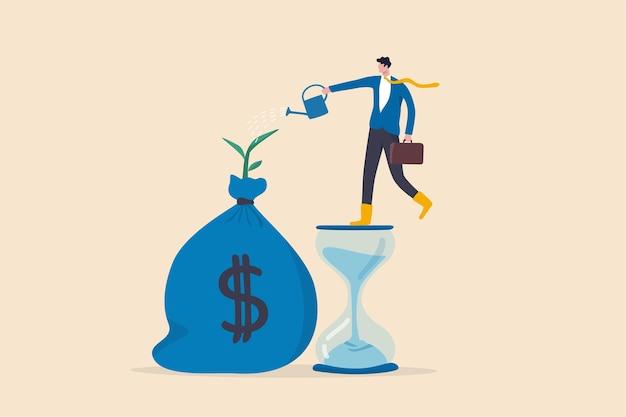 Conta de poupança e investimento, prosperidade, crescimento obtido com juros compostos