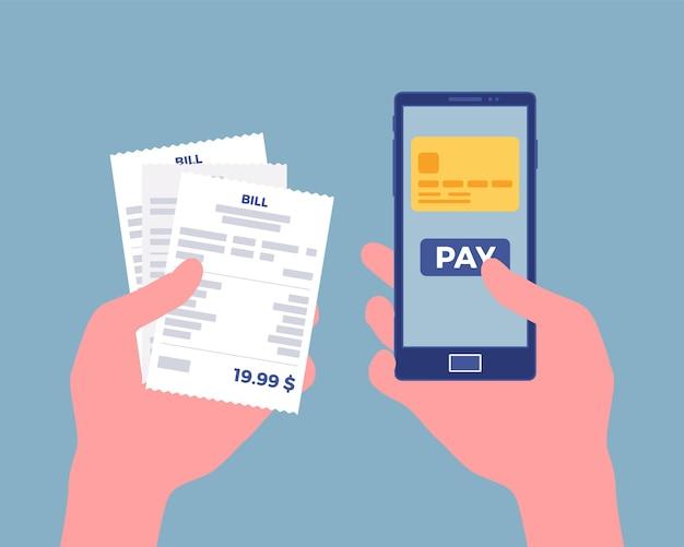 Conta digital para pagamento móvel. consumidor segurando em mãos um smartphone e cheque para pagar por bens, produtos, suporte, serviço, conteúdo online. processo rápido e fácil. ilustração vetorial