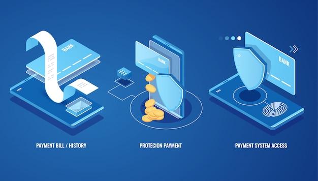 Conta eletrônica, notificação de pagamento on-line, histórico de pagamento, proteção de dados financeiros