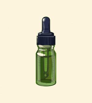 Conta-gotas de vidro verde com pipeta medicinal, esboço desenhado à mão