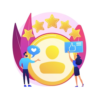 Conta pessoal. feedback positivo, avaliação do usuário, estrelas de fidelidade. site de namoro, classificação do site. mulher avaliando personagem de desenho animado de página da web