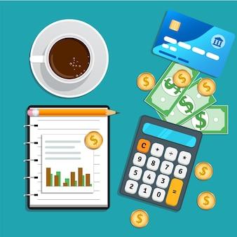 Contabilidade, auditoria financeira, gerenciamento de risco, análise de dados, pesquisa de marketing com calculadora