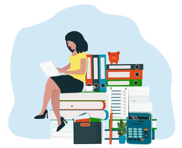Contabilidade e análise, auditoria financeira. uma mulher, uma contadora que trabalha com relatórios.