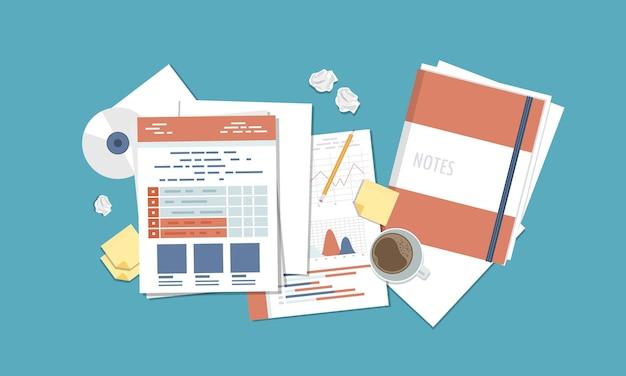 Contabilidade e pesquisa de relatórios de negócios