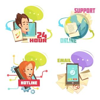 Contacte-nos composições retro dos desenhos animados com serviço ao cliente 24 horas de apoio linha direta hotline email