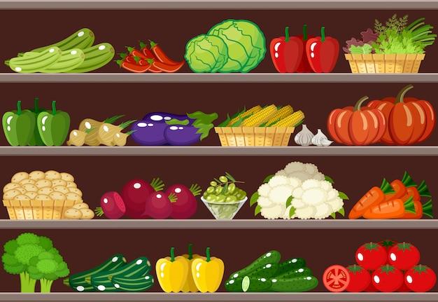 Contador com legumes. supermercado.