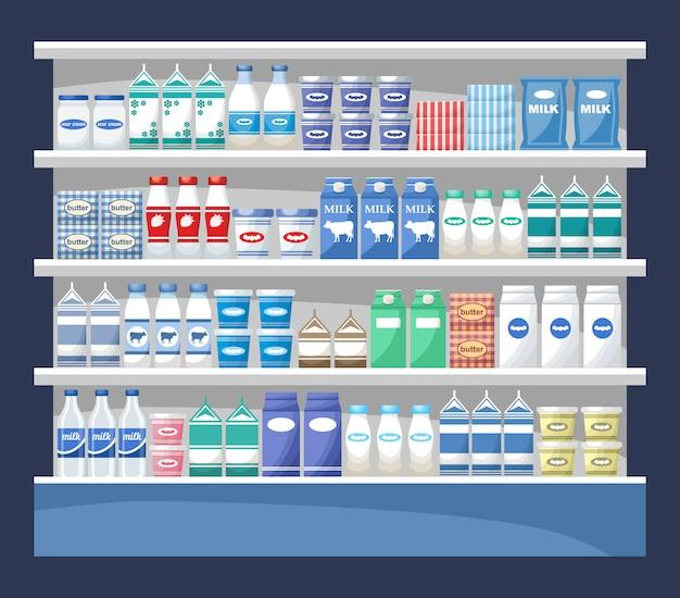 Contador com produtos lácteos. supermercado