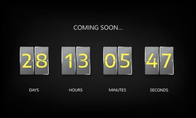 Contador de relógio de contagem regressiva. modelo plano de site de contagem regressiva. flip design de exibição de placar de negócios em fundo escuro