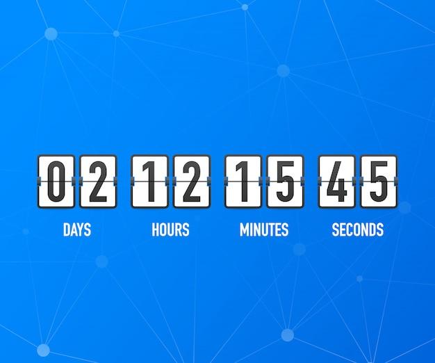 Contador de relógio de contagem regressiva. ui app digital contagem regressiva medidor de placa de círculo com diagrama de torta de tempo do círculo. placar do dia, hora, minutos e segundos para a página da web em breve modelo de evento