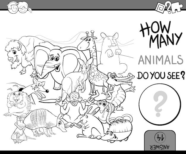 Contagem de animais para colorir livro