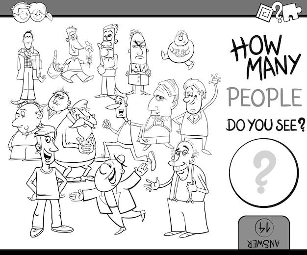 Contagem de pessoas tarefa colorir livro