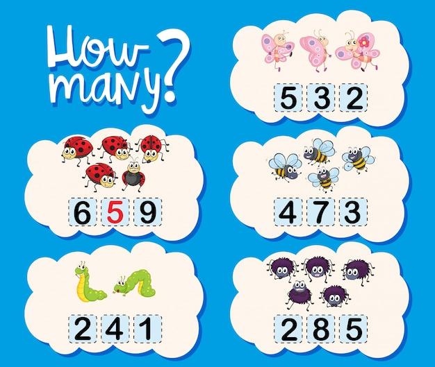 Contagem de planilha com números e imagens