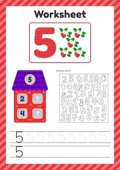 Contagem de planilha para crianças. casa. número de títulos. linha de rastreamento. o estudo da matemática para crianças do jardim de infância, idade pré-escolar. cinco. 5)