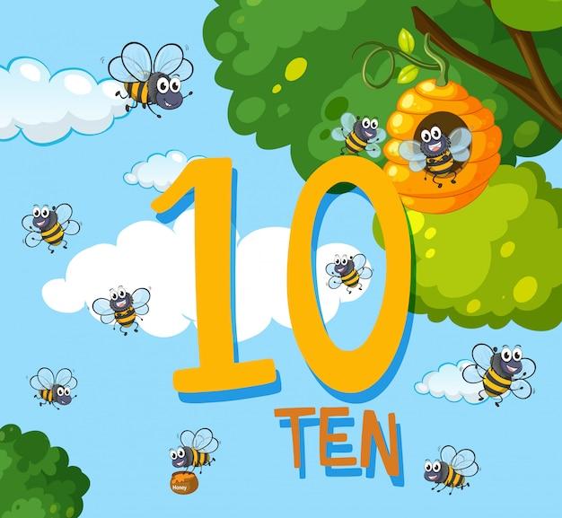 Contagem, dez, abelha