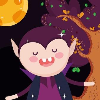 Contagem drácula cartoon árvore halloween