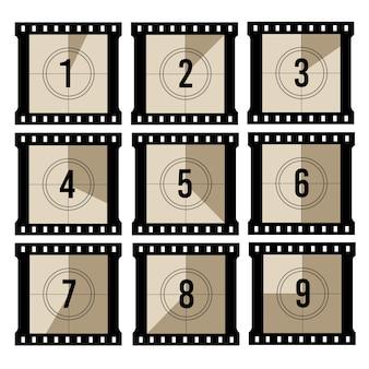 Contagem regressiva do filme. contador de timer de filme antigo projetor.