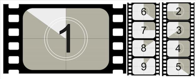 Contagem regressiva do filme, filme mudo vintage e filme fotográfico em branco de quadro completo ainda proporções de trinta e cinco milímetros, conjunto de ícones