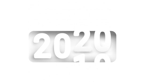 Contagem regressiva para o novo ano 2020 em estilo de corte e artesanato de papel. cor branca e 2020 simples. papel arte ilustração.