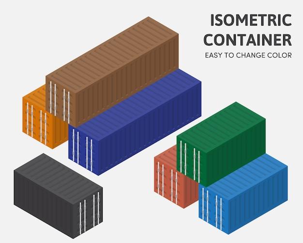 Container box vector isométrica de fácil mudança de cor