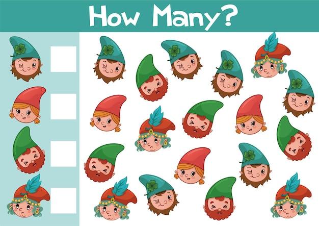 Contando a ilustração do jogo gnome para crianças em idade pré-escolar em formato vetorial