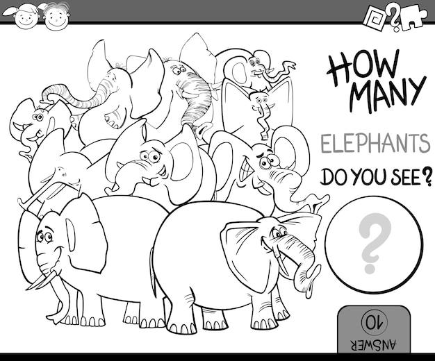 Contando a página de colorir cartoon do jogo