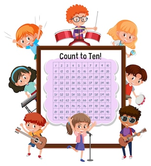 Contando a placa número 1-100 com muitas crianças fazendo atividades diferentes