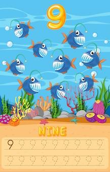 Contando a planilha matemática de peixe