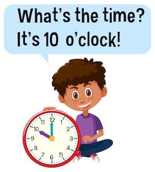 Contando as horas com um menino segurando um relógio