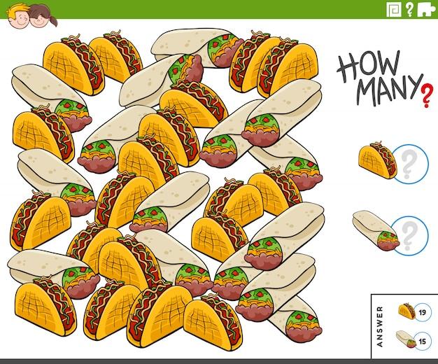 Contando burritos e tacos tarefa educacional para crianças