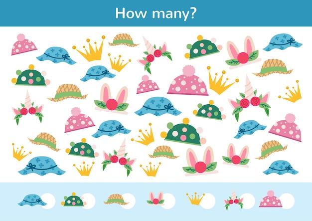 Contando crianças, jogo de chapéus infantis de desenho animado