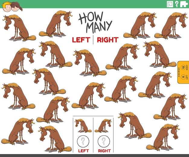 Contando fotos à esquerda e à direita de um animal de fazenda de cavalos de desenho animado