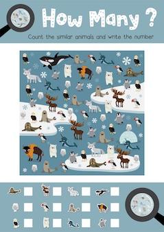 Contando jogo de animais do ártico
