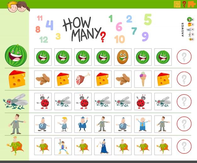 Contando jogo para crianças com personagens de desenhos animados