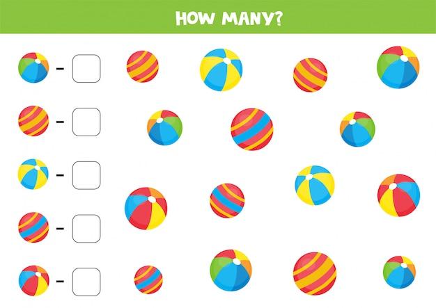 Contando jogo para crianças. conte as diferentes bolas.