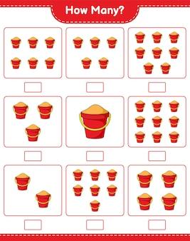 Contando jogo, quantos balde de areia. jogo educativo para crianças, planilha para impressão
