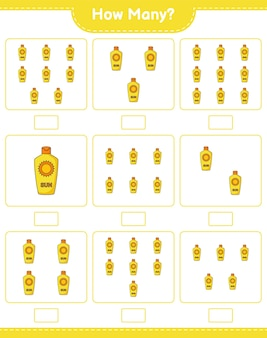 Contando jogo, quantos protetor solar. jogo educativo para crianças, planilha para impressão