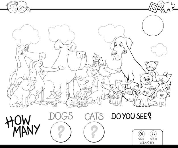 Contando livros de cor de jogos de cães e gatos