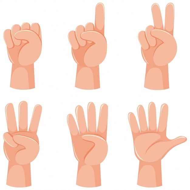 Contando números com gesto com a mão