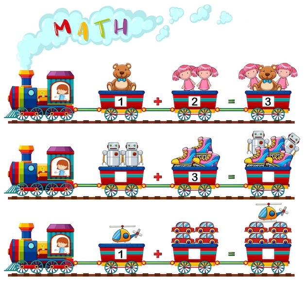 Contando números de brinquedos no trem