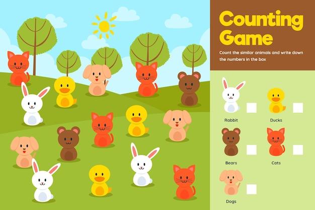 Contando o jogo com animais fofos em um campo