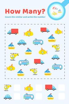 Contando o jogo com itens de transporte