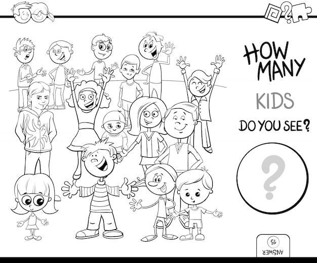 Contando o jogo com livro de cor de personagens de criança