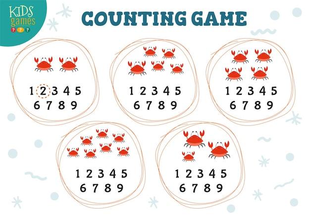 Contando o jogo com muitos caranguejos vermelhos de desenhos animados para ilustração de crianças de pré-escolas.