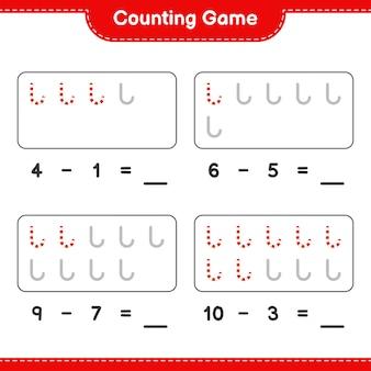 Contando o jogo, conte o número de bastões de doces e escreva o resultado