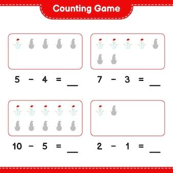Contando o jogo, conte o número de bonecos de neve e escreva o resultado