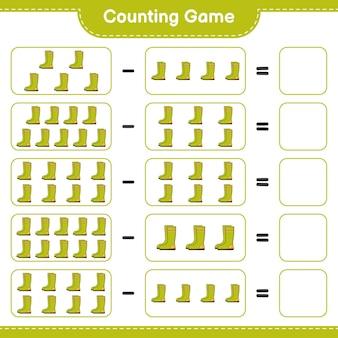 Contando o jogo, conte o número de botas de borracha e escreva o resultado. jogo educativo para crianças, planilha para impressão