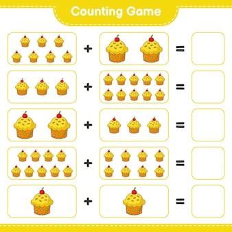 Contando o jogo, conte o número de cup cake e escreva o resultado. jogo educativo para crianças