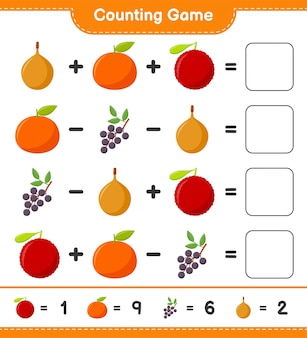 Contando o jogo, conte o número de frutas e escreva o resultado. jogo educativo para crianças, planilha para impressão, ilustração